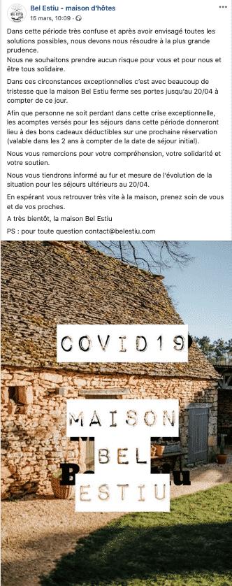 Bel Estiu, publication Facebook Covid19