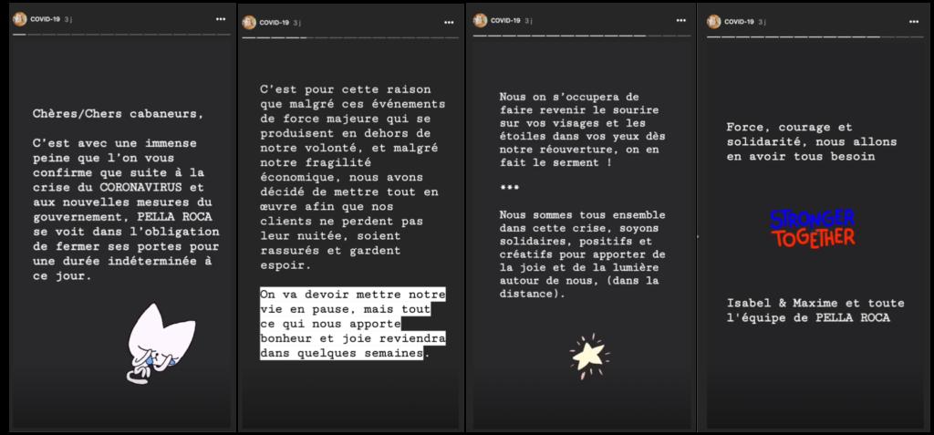 Pella Roca, gestion de la crise Coronavirus sur Instagram